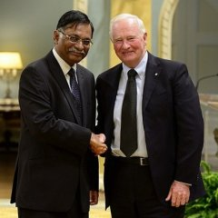 The Rt. Hon. Dr. David Johnston, Governor General of Canada, greets H.E. Mizanur Rahman, High Commissioner for Bangladesh in Canada, after accepting the Letter of Credential at Rideau Hall, Ottawa on 6th of September 2016.