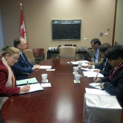 H.E. the High Commissioner and his accompanying delegation having formal meeting with Mr. Ian Shugart, Deputy Minister of Foreign Affairs of Canada.jpg