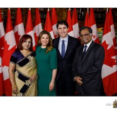 H.E. Mizanur Rahman, High Commissioner of the People's Republic of Bangladesh to Canada, and Mrs. Nishat Rahman are seen with the Right Honourable Justin Trudeau, Prime Minister of Canada, and Mrs. Sophie Gregory Trudeau at a Dinner Reception in the